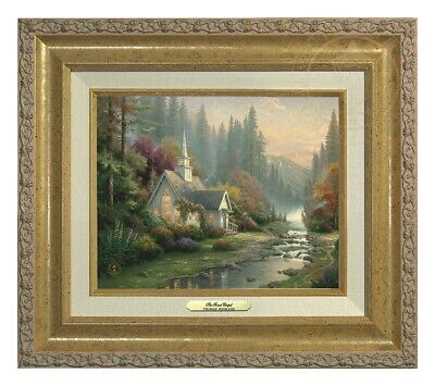 The Forest Chapel Thomas Kinkade 8x10 Canvas NEW Giclee Antique Gold Frame