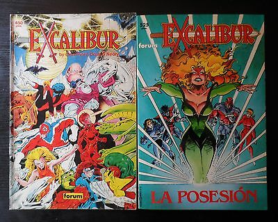 Dos EXCALIBUR, Prestigio 1 y 43, Forum. Marvel Chris Claremont Alan Davis X-MEN