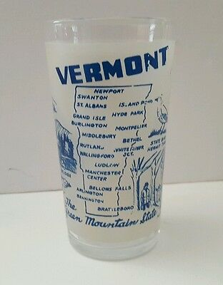 Vintage Vermont Souvenir State Map Drinking Glass Hi Ball Frosted Blue EUC