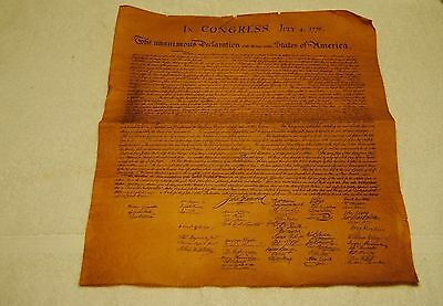 Old Looking Declaration of the United States Reproduction and Two Feathers