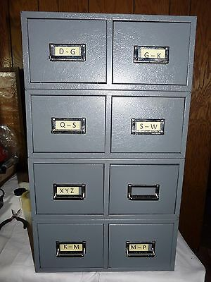 Set Of 4 Vintage Grey Buddy Products Metal 2 Drawer Card File Cabinet Stackable