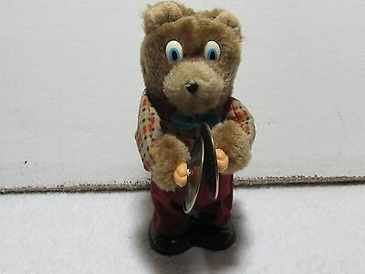 Vintage wind up musical bear playing cymbals