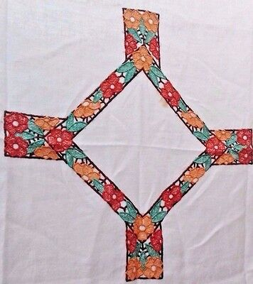 """Vintage 'Arts & Crafts' Tablecloth Linen 20s 30s Hand Embroidered floral 43"""" sq"""