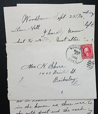 US Postal History Cover Woodburn Fancy Cancel Stamp 2c 1910 USA Brief (H-6862