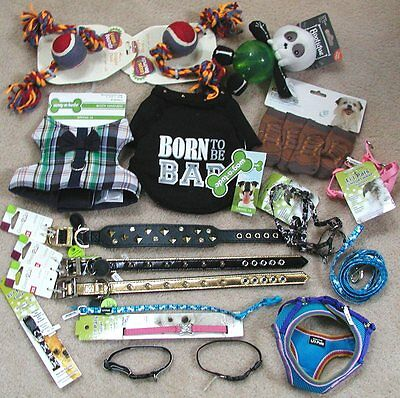 Mixed lot of 18 NWT Toy Small Dog Puppy items - Collars Fashion Toys Pet Rescue