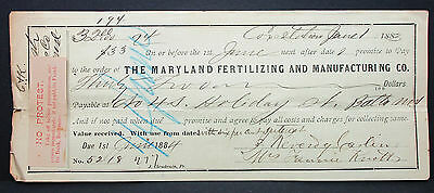 US Check The Maryland Fertilizing and Manufacturing Co. No Protest 1883 (H-6880+