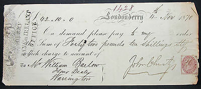 UK Check Bank of Ireland Londonderry Inland Revenue Stamp 1 Penny 1870 (H-6895+