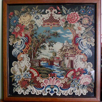Antique Needlepoint Tapestry Embroidery Pillowcase, 19th Century