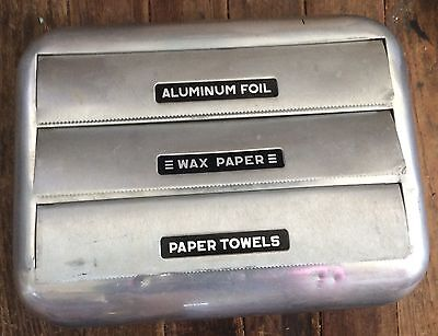 Kitchen Vintage Foil, Paper Towel and Wax Paper Wall Mounted Holder.