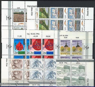 Aland (Åland) 1994, Corner margin block Year set in pristine MNH condition
