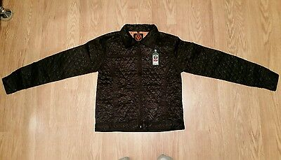 Jagermeister Black satin Quilted Jacket Orange and Black embroidered Size XS