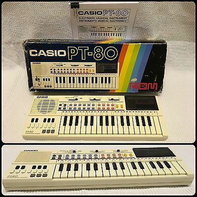 CASIO PT-80 Electronic Keyboard 1980's working with ROM card RO-551. Vintage
