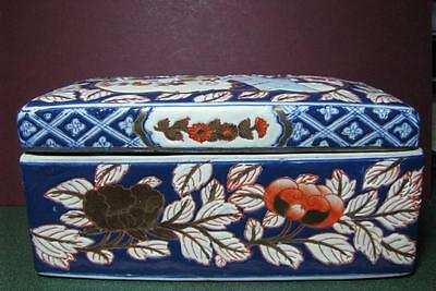 Charming Vintage Chinese Hand Painted Large Lidded Porcelain Box