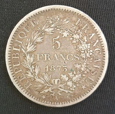 1873-A France Silver 5 Francs Hercules Coin.......