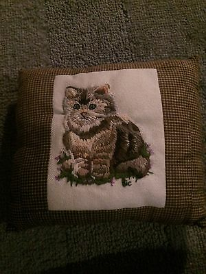 Vintage embroidered cat pillow