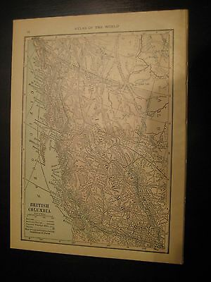 Antique 1914 Map British Columbia, Alberta, Saskatchewan