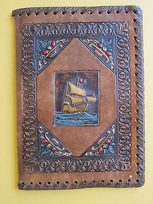 Vintage Tooled Leather Notebook Book Journal Cover Made in Italy Ship Embossed