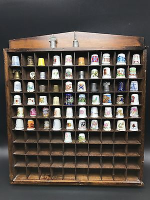 Antique Vintage 64 THIMBLES Mixed COLLECTION MSR Imports Wood Wall Display