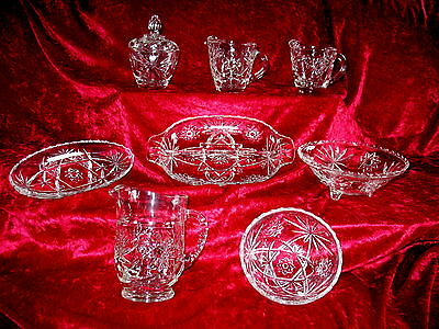 8 Piece Lot of ANCHOR HOCKING SET OF GLASS DISHES EAPC W STAR OF DAVID