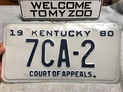 Kentucky 1980 80 APPEALS COURT JUDGE JCA-2 low # License Plate Tag Legal Lawyer