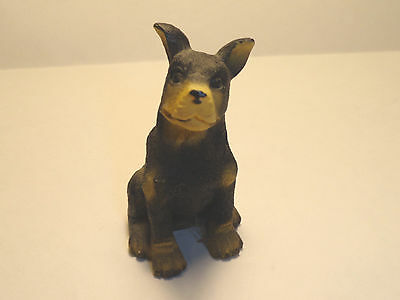 Doberman Pinscher Dog Resin Figurine Black and Brown with Unclipped Ears