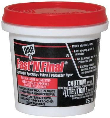 Dap 23030 Fast N' Final Spackling Compound, Interior/Exterior, 237ml White