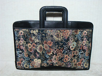 FRENCH COMPANY - Vintage Tapestry & Black Leather Business Briefcase Attache