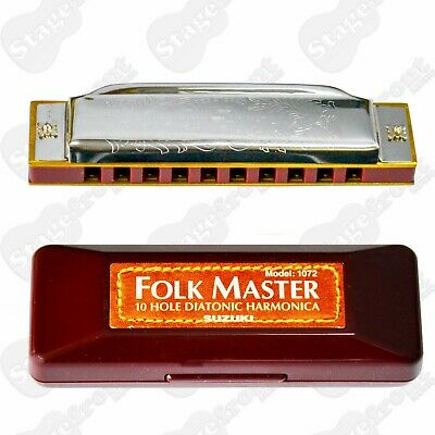 Suzuki Folkmaster Harmonica Choose Key. Plays With Clarity - New