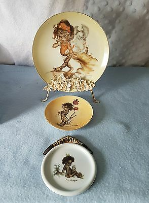 Gorgeous Vintage X3 Collection Of Brownie Downing Ceramic Wall Hanging Plates.