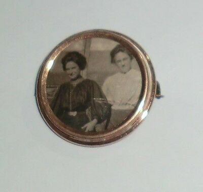 Antique Vintage Victorian Mourning Pin Brooch GP Brass Picture Frame Women