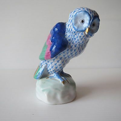 Herend Hungary, Hand Painted Blue Net Fishnet Owl, Porcelain, 5106, Lovely