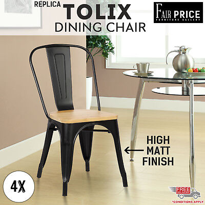 4 x Replica Tolix Dining Chair Xavier Pinewood Seat Home Cafe/Pub, Black Color