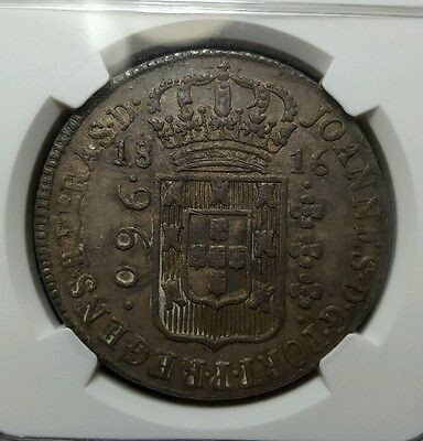 Silver 1816 B Brazil 960 Reis | NGC MS62 | Minted on 8 Reales