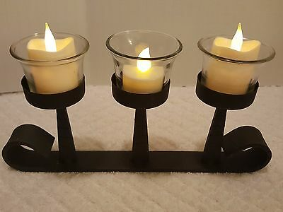 Black Wrought Iron Table Top Decorative Curved End Candle Holder Three Inserts