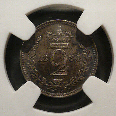NGC MS-63 silver Maundy 2 pence (twopence), 1880, KM#729, Spink 3919