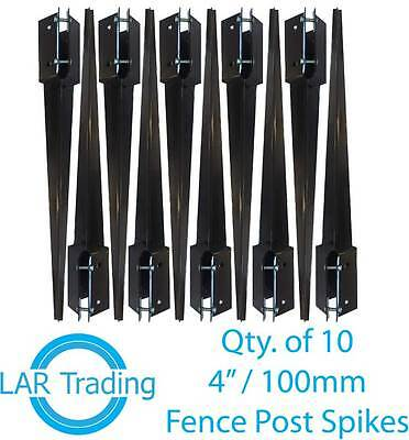 """Qty 10 of 4x4""""/100x100mm Fence Post Holder Drive In Spike Bolt Grip Like Metpost"""