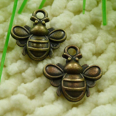 Free Ship 50 pieces Antique bronze bee charms 22x20mm #1021