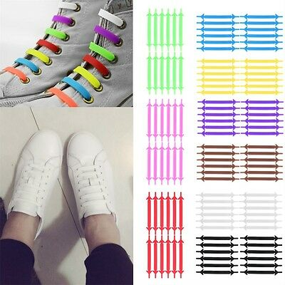 Creative Unisex Running No Tie Shoelaces Elastic Silicone Shoe Lace For Shoes E5
