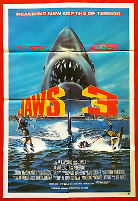 JAWS 3D - Original 1983 Australian cinema release One-Sheet movie poster -horror