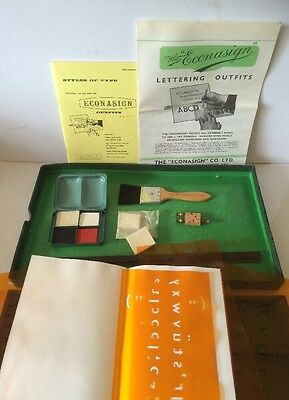 """Vintage Antique Collectable Stencil Box The Econasign """"Civic"""" PAT #175525 282895"""