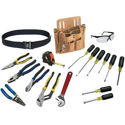 18pc Electrical Tool Set Work Belt 10 Pocket Pouch Klein Tools XL Racing Shirt