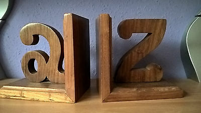 A to Z Rustic Shabby Look Wooden Bookends