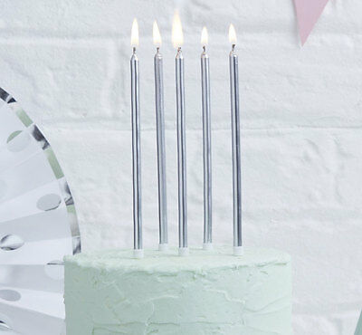Tall Silver Birthday Candles I 24 Pack I Silver Candles I Metallic Candles