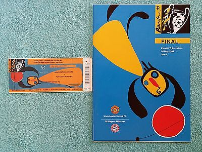 1999 - CHAMPIONS LEAGUE FINAL PROGRAMME + TICKET - MAN UNITED v BAYERN MUNICH