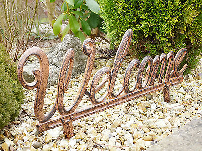 Large Cast Iron Welcome Stake Sign Antique Style Garden Outdoor Ornament