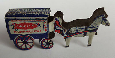 1925 Vintage Cracker Jack Prize Toy Tin Litho Horse and Wagon Stand Up