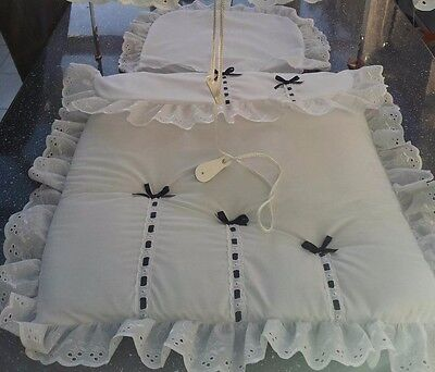 Pram BEDDING SET to fit Silver Cross in white/ with navy bows