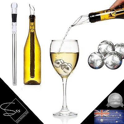Soirée Stainless Steel Wine Bottle Cooler Stick PLUS 4 Round Whisky Stones Ice