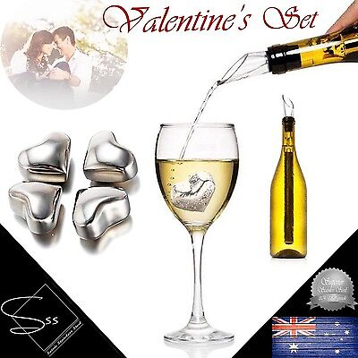 Valentines Set Stainless Steel Heart Shape Cooling Stones and Wine Chiller Stick