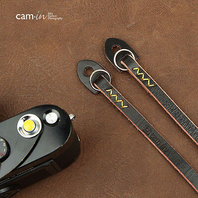 Black w/ Yellow Stitching Leather Cam-in Camera Strap w/ Rings CAM2627 UK stock